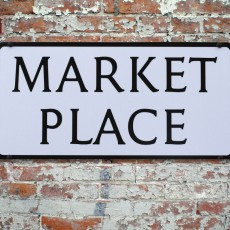 Market place sign on brickwork