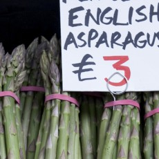 English asparagus for sale on market stall