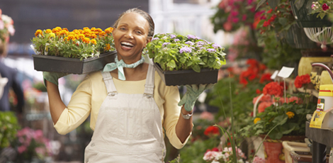 Flower trader in the market