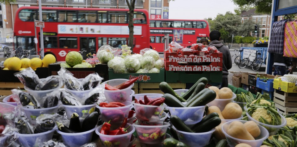 veg with london bus in background
